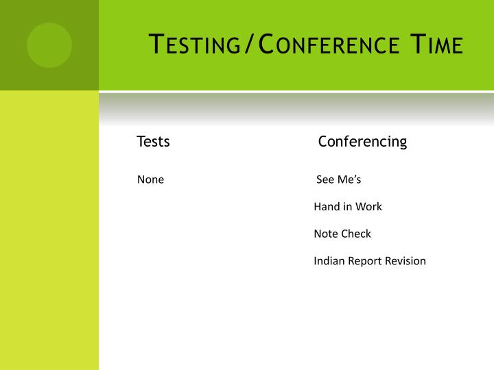 Testing/Conference Time