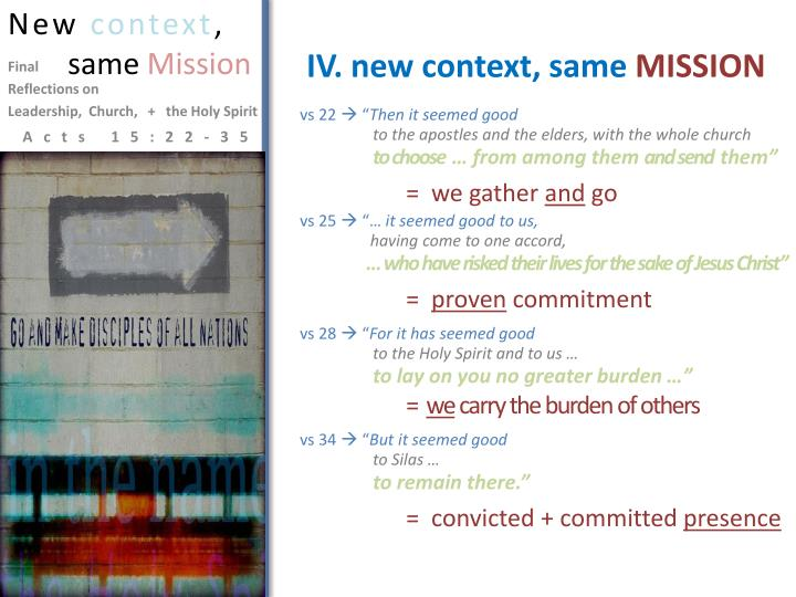 IV. new context, same