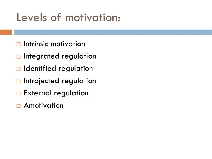 Levels of motivation: