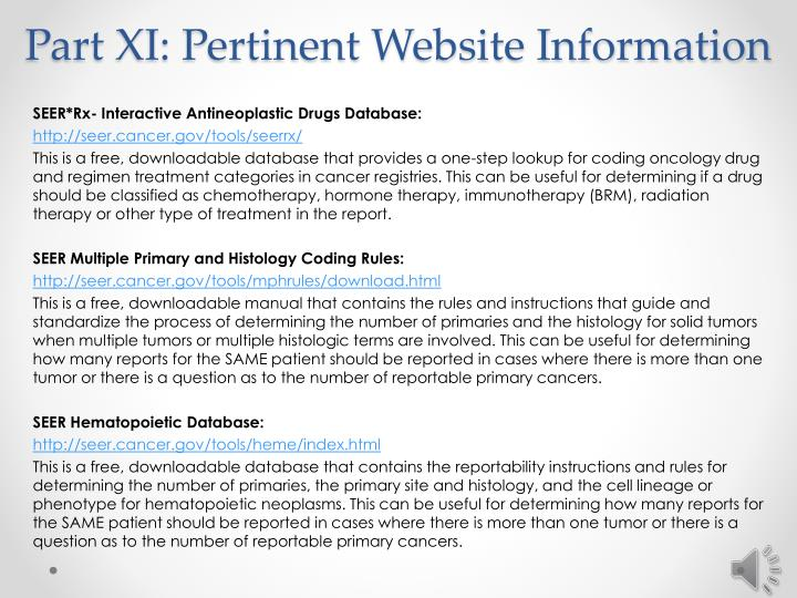 Part XI: Pertinent Website Information