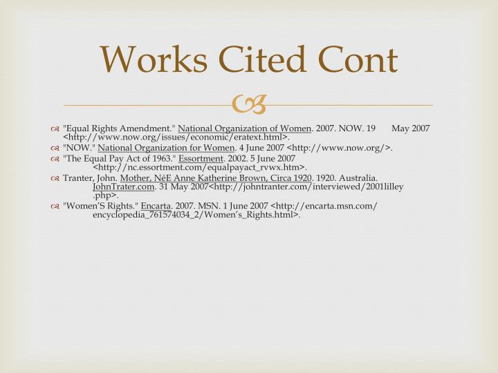 Works Cited Cont