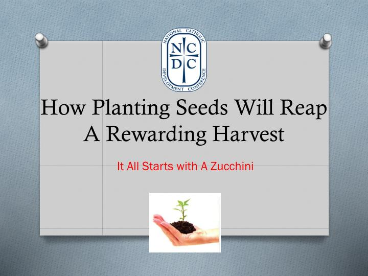 How planting seeds will reap a rewarding harvest