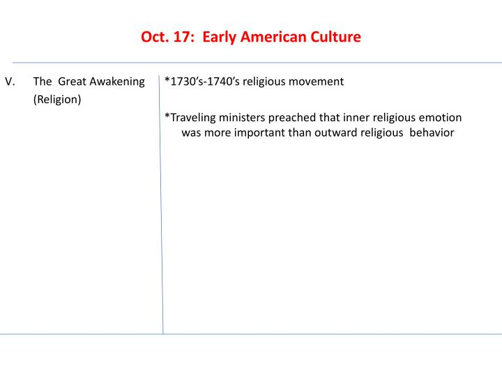 Oct 17 early american culture1