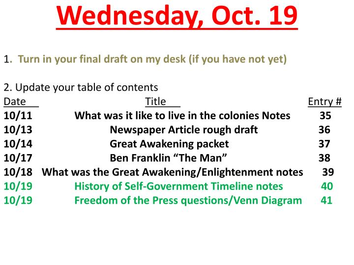 Wednesday oct 19