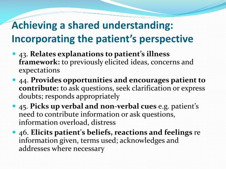 Achieving a shared understanding: Incorporating the patient's perspective