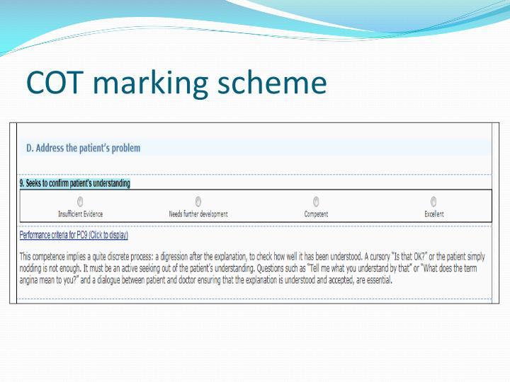 COT marking scheme