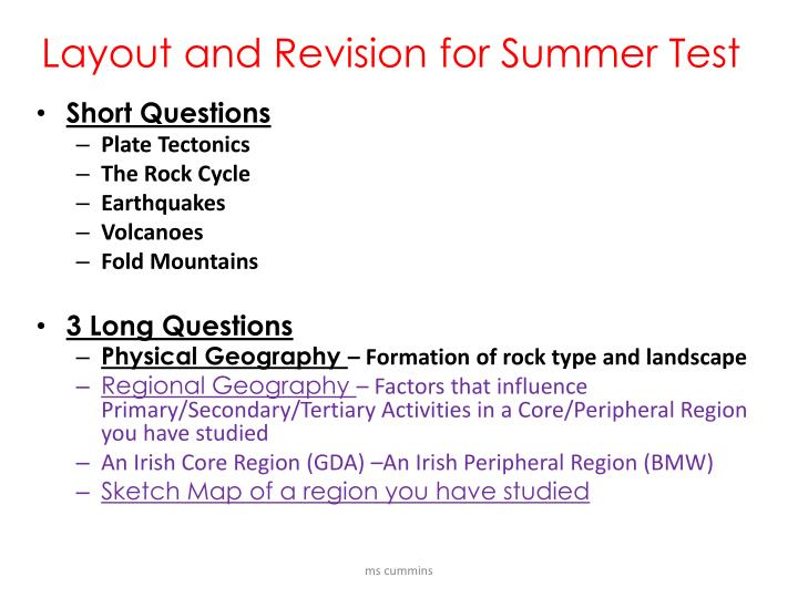 layout and revision for summer test
