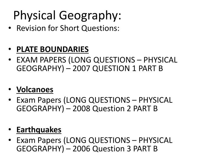 Physical Geography: