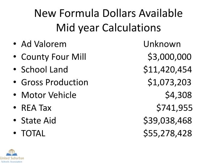New Formula Dollars Available