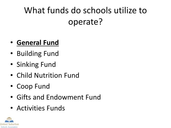 What funds do schools utilize to operate