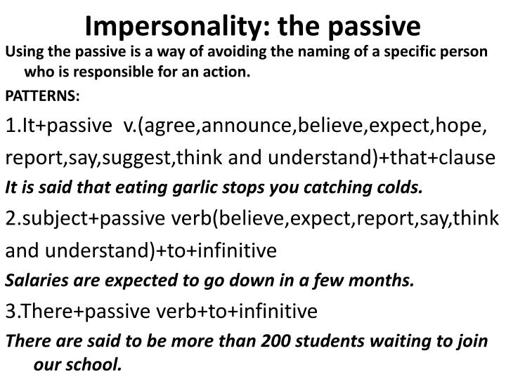 Impersonality