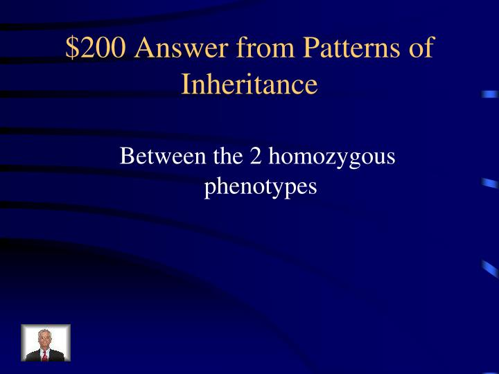 $200 Answer from Patterns of Inheritance