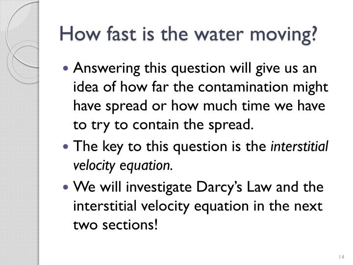 How fast is the water moving?