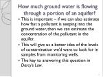 how much ground water is flowing through a portion of an aquifer