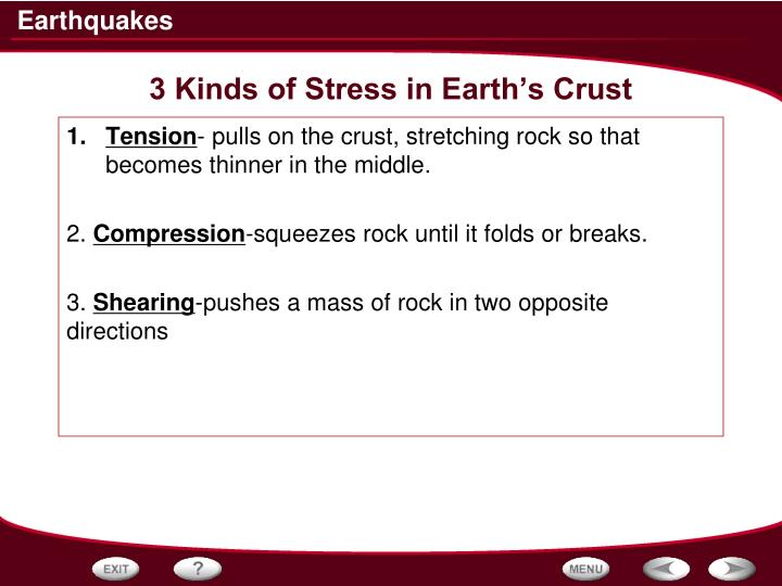 3 Kinds of Stress in Earth's Crust