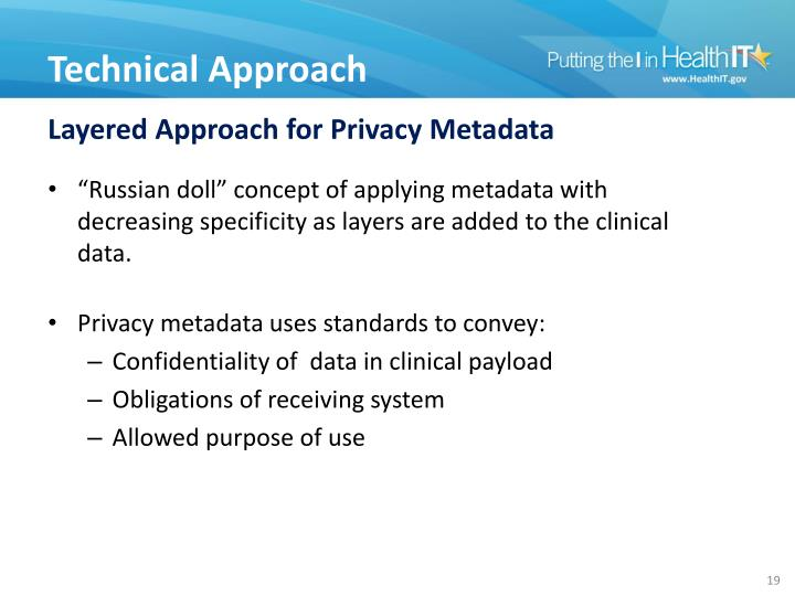 Layered Approach for Privacy Metadata