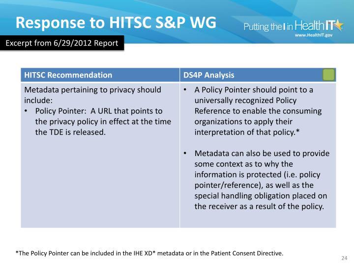 Response to HITSC S&P WG