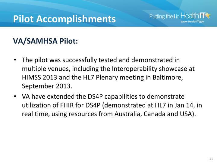 VA/SAMHSA Pilot: