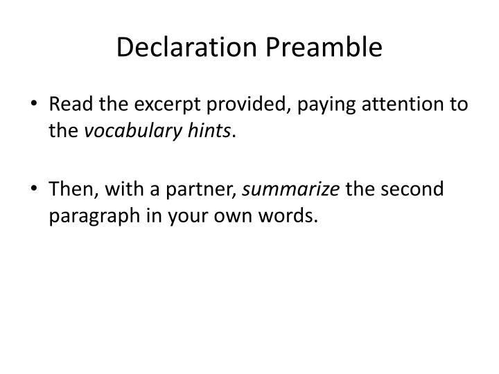 Declaration Preamble
