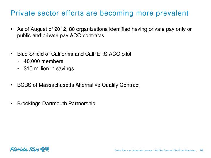 Private sector efforts are becoming more prevalent