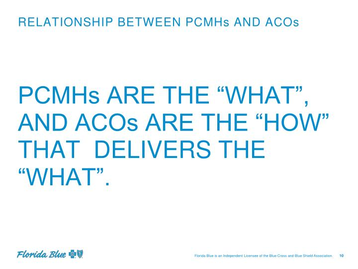 RELATIONSHIP BETWEEN PCMHs AND ACOs