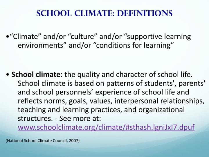 School climate: Definitions