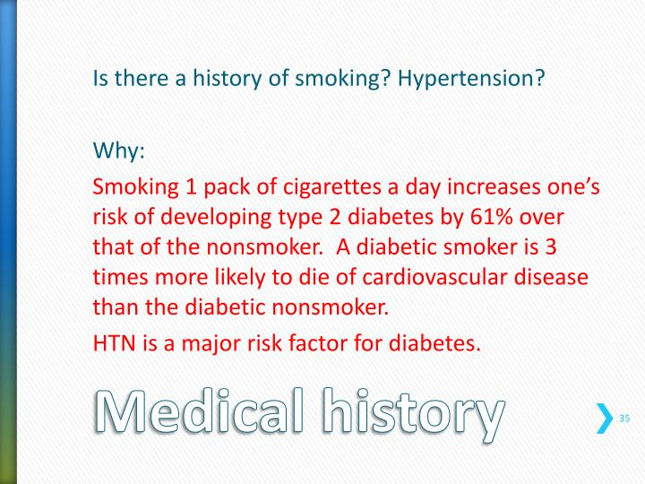 Is there a history of smoking? Hypertension?
