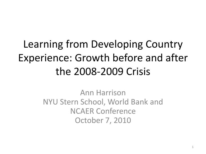 learning from developing country experience growth before and after the 2008 2009 crisis