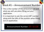 block 1 announcement number