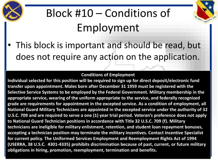 Block #10 – Conditions of Employment