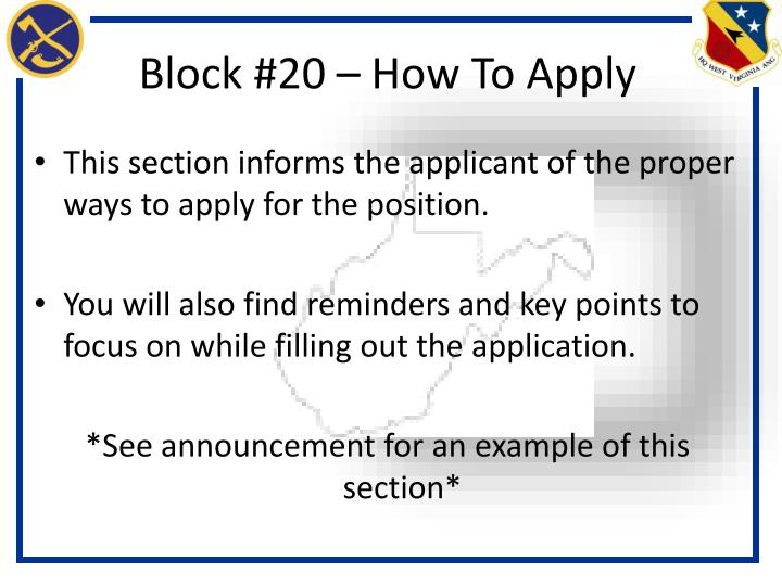 Block #20 – How To Apply