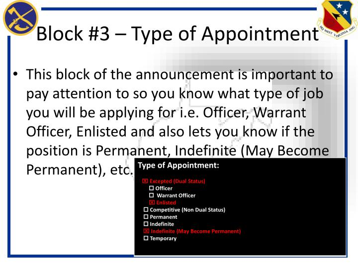 Block #3 – Type of Appointment