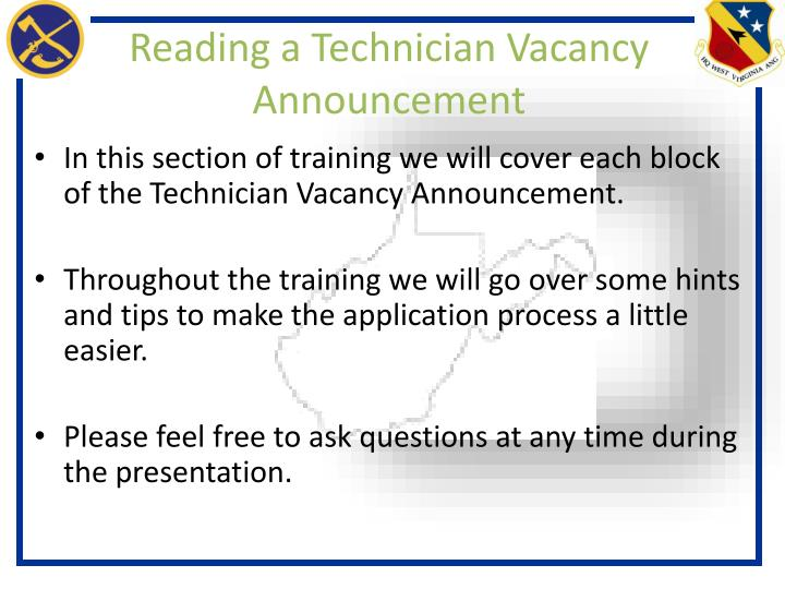 Reading a technician vacancy announcement