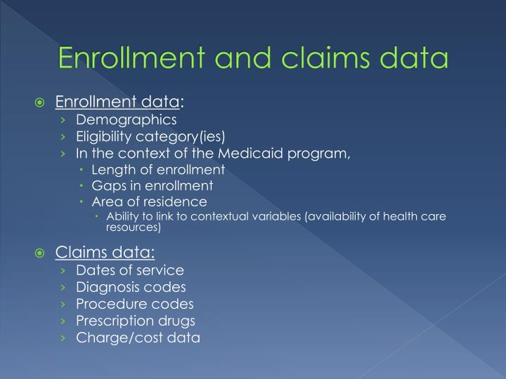 Enrollment and claims data