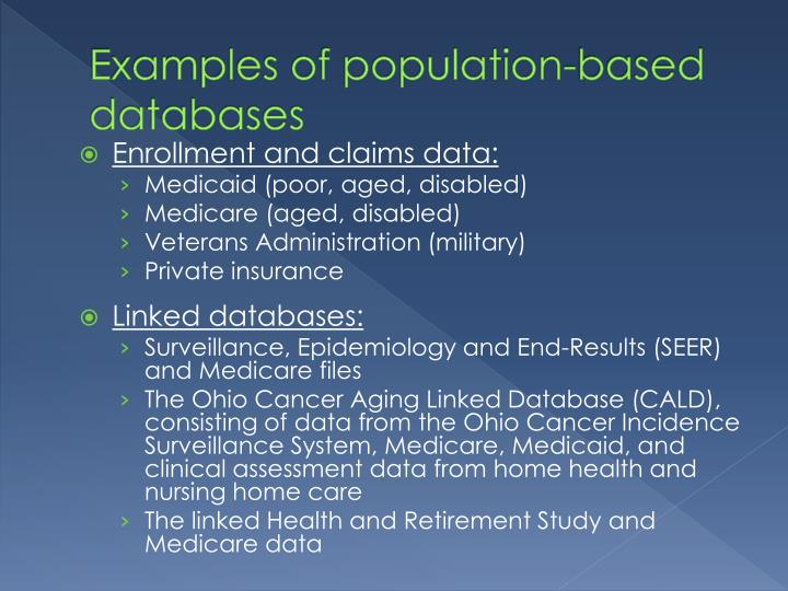 Examples of population-based databases