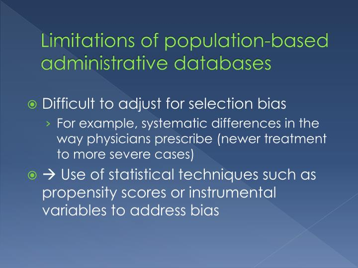 Limitations of population-based administrative databases