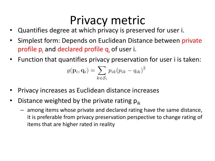 Privacy metric