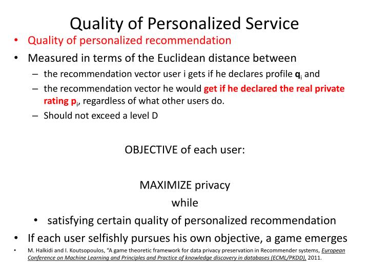 Quality of Personalized Service