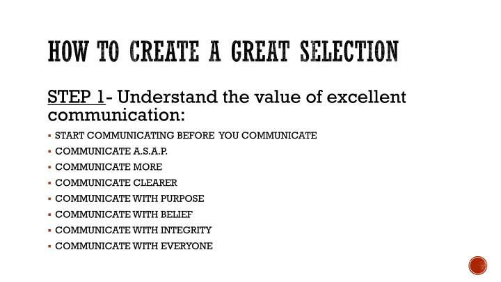 How to create a great selection