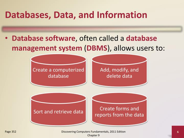 Databases, Data, and Information