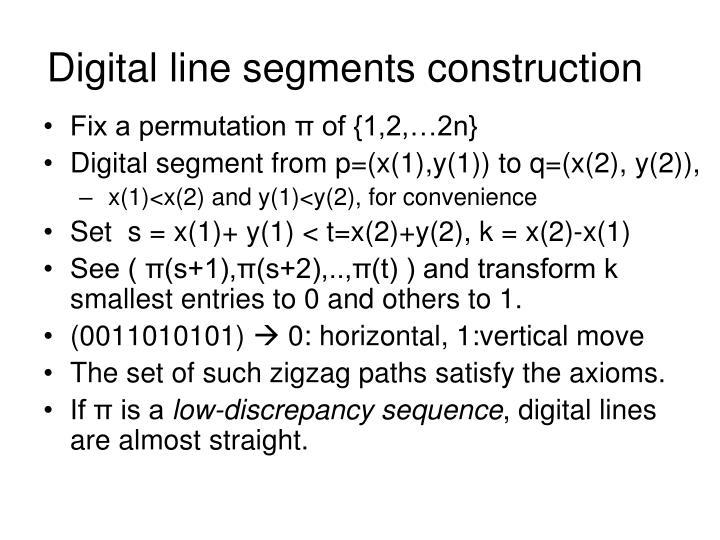 Digital line segments construction