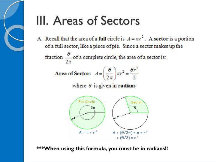 III.  Areas of Sectors