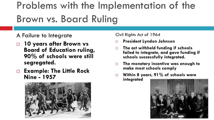 Problems with the Implementation of the Brown vs. Board Ruling