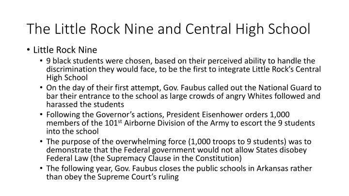 The Little Rock Nine and Central High School