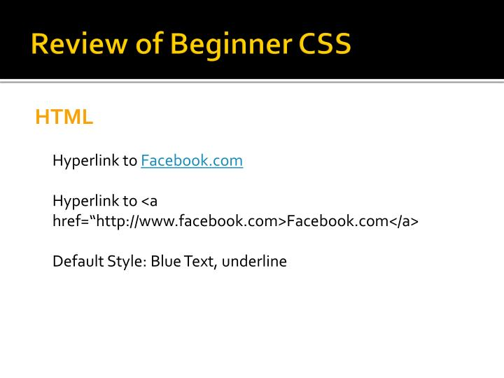 Review of Beginner CSS