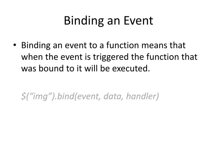 Binding an Event
