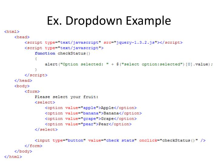 Ex. Dropdown Example