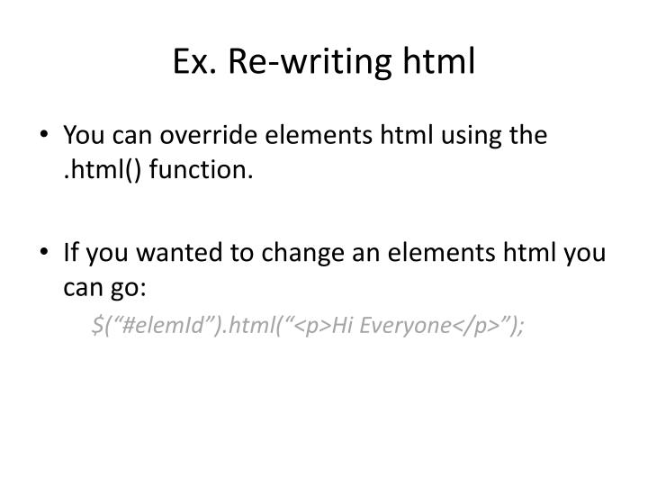 Ex. Re-writing html