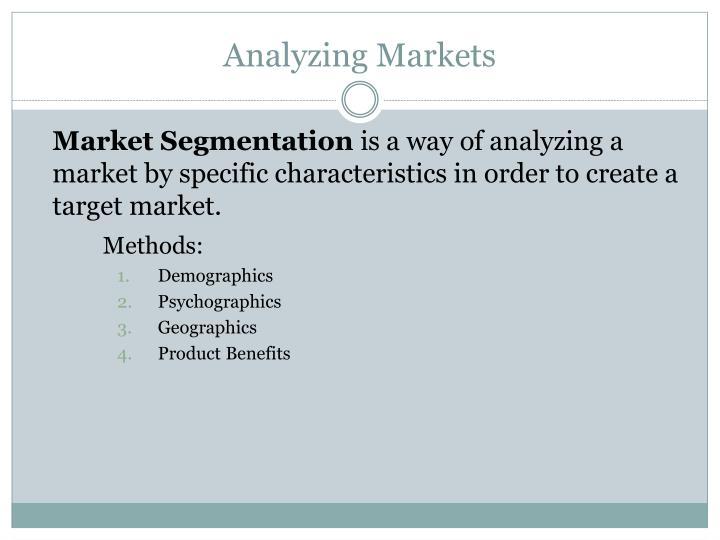 Analyzing Markets
