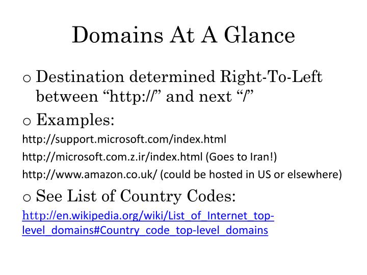 Domains At A Glance